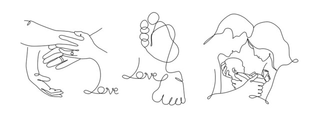Fototapeta Vector one line art set of illustrations of a new born baby heels and mother, father and holding a new born baby. Lineart  family portret obraz