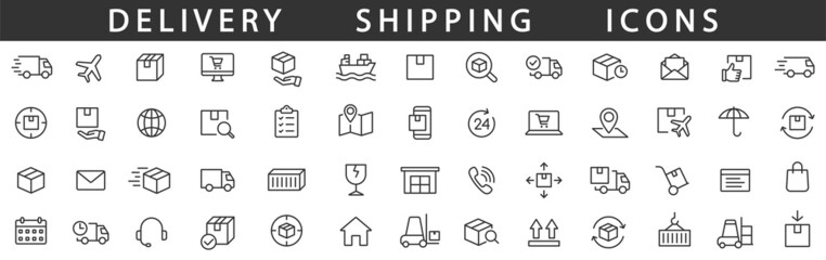 Obraz Delivery line icons set. Shipping icon collection. Vector - fototapety do salonu