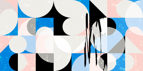 seamless abstract geometric background pattern, retro style, with circles, semicircle, squares, paint strokes and splashes
