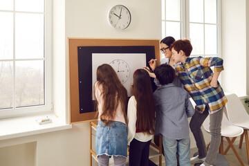 Modern school learning method for children education. Young caucasian female teacher teaching...