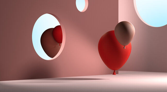 Red And Beige Balloons Looking at Mirror. The reflection Showing Different Reality. Concept of Self-Esteem. Surrealism. Magic Realism. 3d rendering