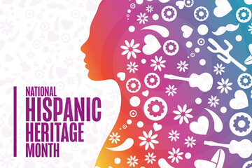 Fototapeta National Hispanic Heritage Month. Holiday concept. Template for background, banner, card, poster with text inscription. Vector EPS10 illustration. obraz