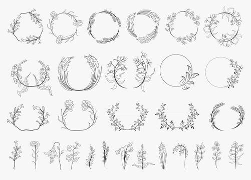Vintage laurel wreaths Hand drawn wedding ornaments collection. Set of black laurels frames branches. Decorative vintage line elements collection. Vector illustration