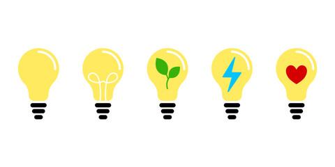 Fototapeta Żarówka - zestaw ikon do projektów. Żarówki świecące jasnym żółtym światłem. Symbol idei, zielonej energii, rozwiązania, pomysły, radzenia sobie z problemem. Koncept lampy, światła. obraz
