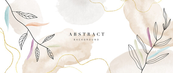 Fototapeta Abstract art flower background vector. Luxury minimal style wallpaper with golden line art floral and botanical leaves, Spring growing flowers and Organic shapes watercolor.  obraz