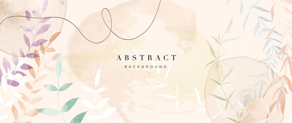 Abstract art flower background vector. Luxury minimal style wallpaper with golden line art floral and botanical leaves, Spring growing flowers and Organic shapes watercolor.