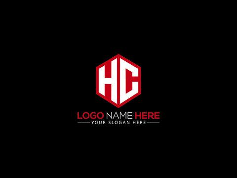 HC Letter Logo, creative hc logo sticker vector for business