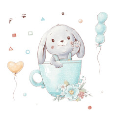 Set of cute cartoon bunny in a cup with balloons and flowers