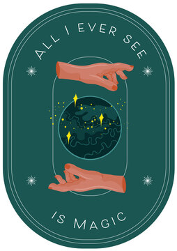 Vector Illustration Icon, Card, Banner. Ritualistic, Wicca, witch art with a crystal ball and hands.