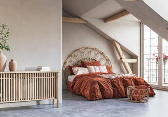 Cozy bedroom interior background in attic, 3d render