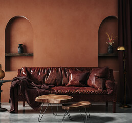 Home interior with ethnic decoration, living room in brown warm color, 3d render
