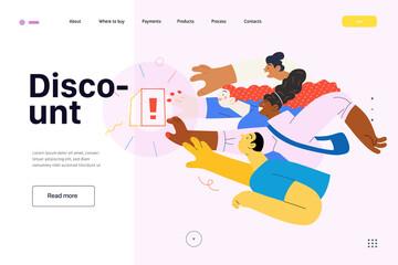 Discounts, sale, promotion, web template. Flat vector