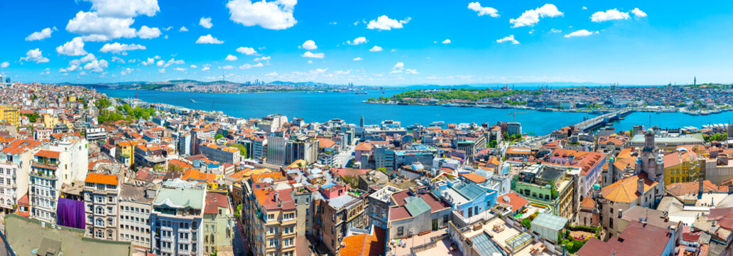 Istanbul aerial city panorama, Istanbul city lanscape view from Europa to Asia