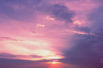 Purple cloudy sky at sunset. Sky texture. Abstract nature background