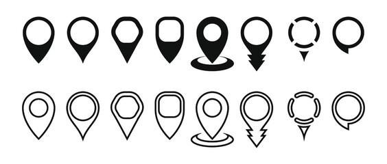 A set of vector icons for the map marker pointer. Modern markers on the map. PIN code of the location. The marker of the place where the map is linked. The location icon. Flat design. Editable stroke
