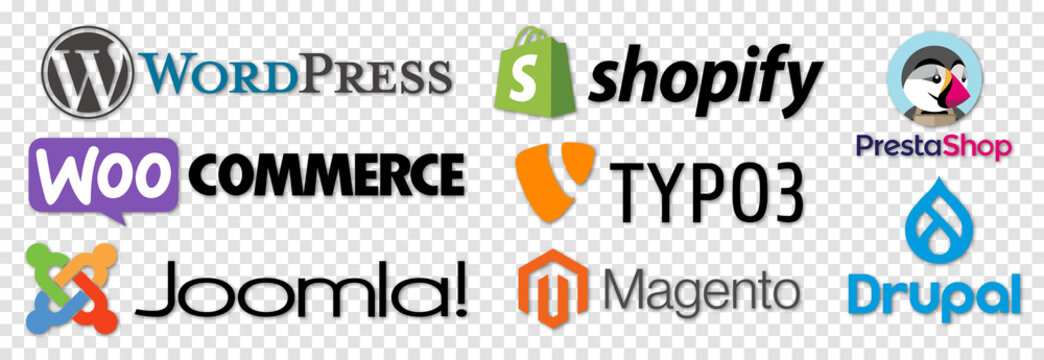Vinnytsia, Ukraine - August 5, 2021. Set of CMS systems icons. WordPress, Shopify, WooCommerce, PrestaShop, Magento, Joomla, Drupal TYPO3 Vector icons isolated on transparent background