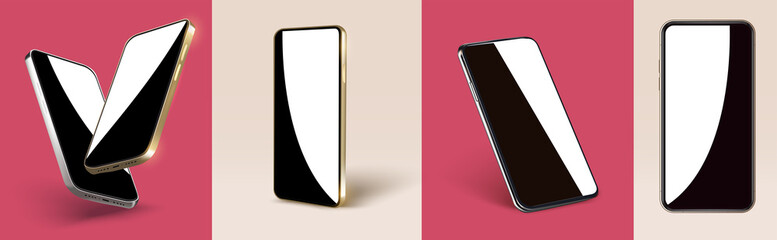 Realistic layout of a golden smartphone, a flying 3d scene of a mobile device with a blank screen. The mirrored glass of the mobile phone is displayed. A template for a product presentation. Vector
