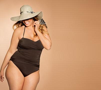 Beautiful Plus Size Swimsuit Model