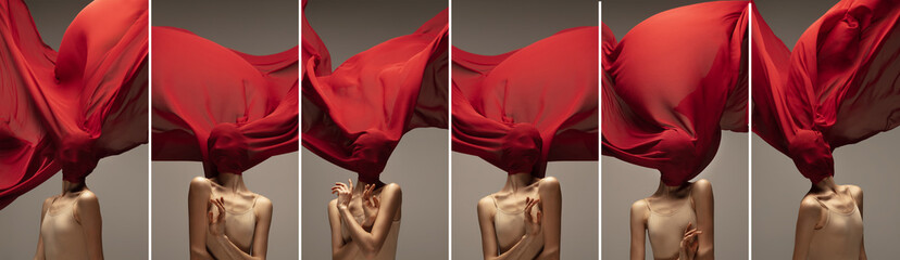 Collage of one female ballet dancer, beautiful flexible woman with red fabric on her face isolated on gray background. Concept of art, theater, beauty and emotions