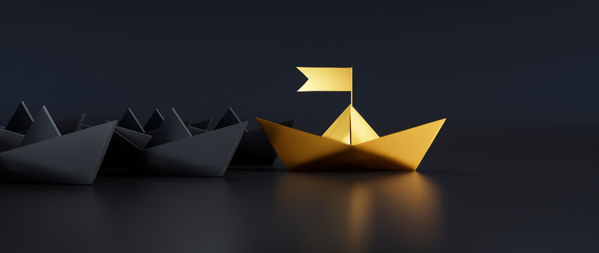 Group of black paper boats with golden leader on darkbackground