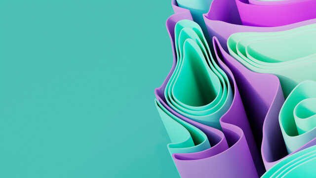 Abstract wallpaper formed from Pink and Green 3D Undulating lines. Multicolored 3D Render with copy-space.