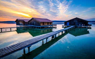 old wooden jetty at a lake in bavaria
