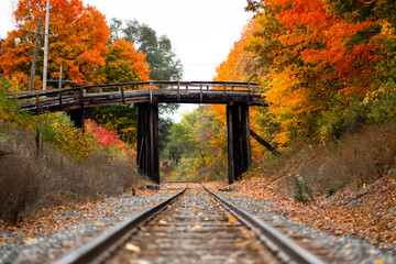 An old wooden bridge sits over railroad tracks surrounded by orange and yellow fall color trees in autumn_02