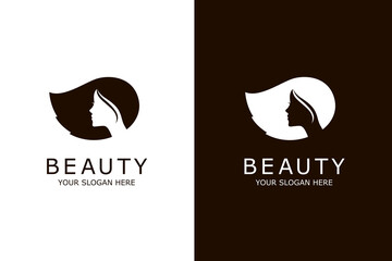 beauty woman hair icons isolated on white and black background