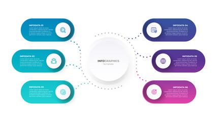Obraz Presentation business infographic template. Timeline with 6 options. Vector illustration. - fototapety do salonu