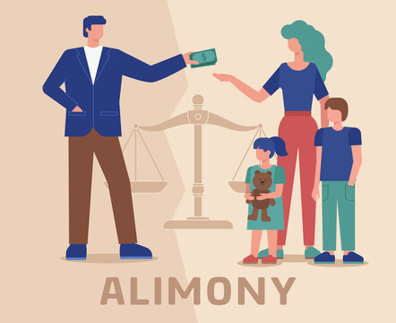 Alimony flat vector illustration shows a person who provides financial support alimony to their spouse