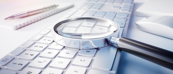 Fototapeta Magnifying glass on computer keyboard - search technology concept obraz