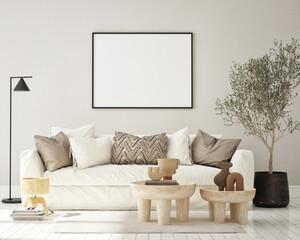 mock up poster frame in modern interior background, living room, Mediterranean style, 3D render, 3D illustration