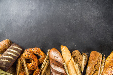 Assortment of baked bread and pastry