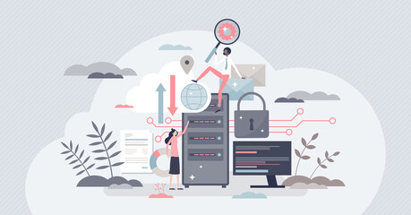 Data center and database hardware and hosting service tiny person concept. Backup disk for information and files with storage safety vector illustration. IT technology and computing infrastructure.