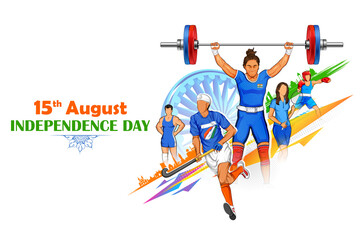 Indian sportsperson from different field victory in championship on tricolor India background