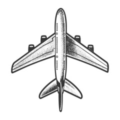 passenger plane top view sketch engraving vector illustration. T-shirt apparel print design. Scratch board imitation. Black and white hand drawn image.