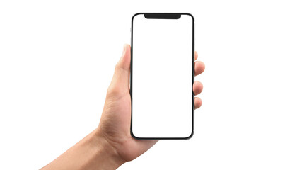 Fototapeta Hand holding smartphone device obraz