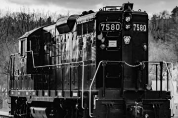 Monochrome Image of Pennsylvania Railroad Locomotive, Glen Rock, Pennsylvania, USA