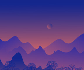 morning twilight silhouette illustration, Vector landscape with blue silhouette of mountains and high hills with orange night sky and beautiful looking moon. Silhouette of a high hill at dusk.