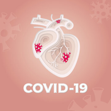 Human heart are infected with the covid-19 virus. Paper cut style.