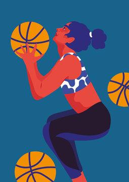 Frau spielt Basketball