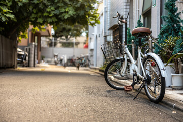 bicycles on the street of Tokyo