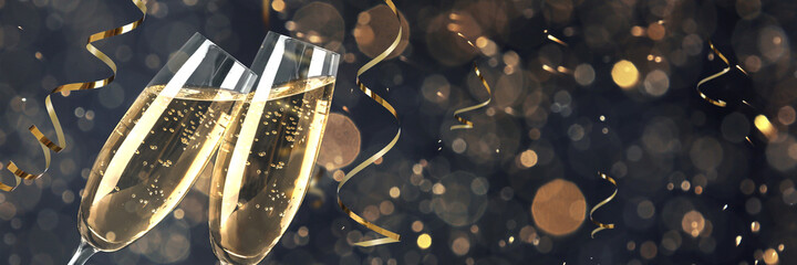 Glasses with sparkling wine and shiny serpentine streamers against blurred festive lights, space for text. Banner design