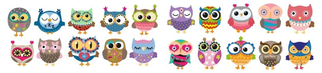 Cartoon owls. owl cartoon icons. Set of owls. vector Owls.