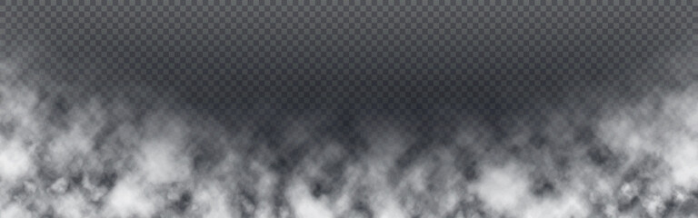 Fototapeta Smoke wide banner. Realistic fog on transparent backdrop. White mist template. Isolated cloudiness or smog design. White clouds effect. Vector illustration obraz
