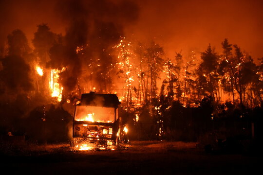 Wildfire spreads on Evia island