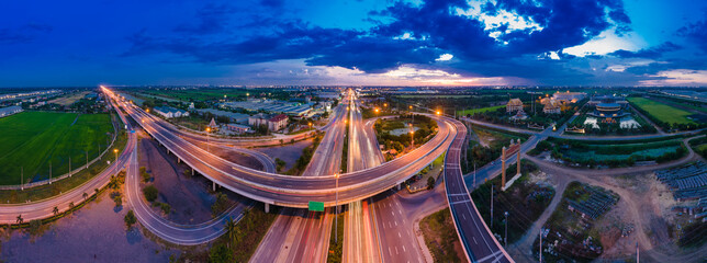 Panorama Aerial view of a highway road at twilight