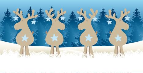Obraz Lustige Rentiere - wer wie wo was? Weihnachten Cartoon in Schneelandschaft mit blauem Tannenwald - fototapety do salonu