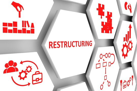 RESTRUCTURING concept cell background 3d illustration