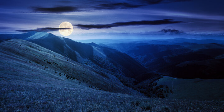 mountain landscape in summer at night. grassy meadows on the hills rolling in to the distant peak in full moon light